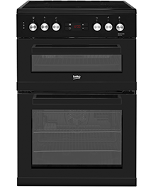 60cm Double Oven and Grill Electric Cooker with Ceramic Hob – Black – A Rated