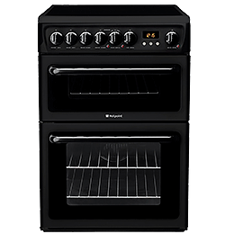 60cm Double Oven and Grill Electric Cooker with Ceramic Glass Electric Hob –  Black – B/B Rated