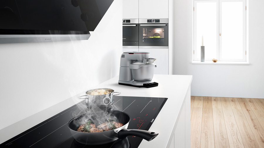 Built-in Bosch ceramic hob and cooker