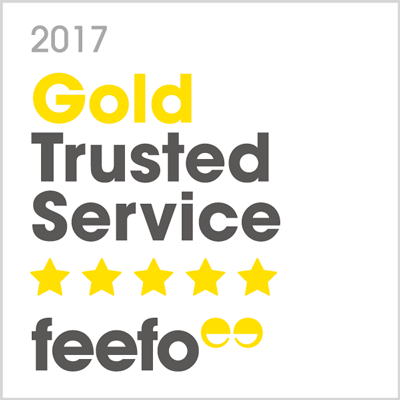 2017 Gold Trusted Service, Feefo Independent Ratings