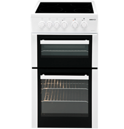 50cm Double Oven and Grill Electric Cooker with Rapidlite Ceramic Hob – White – A Rated