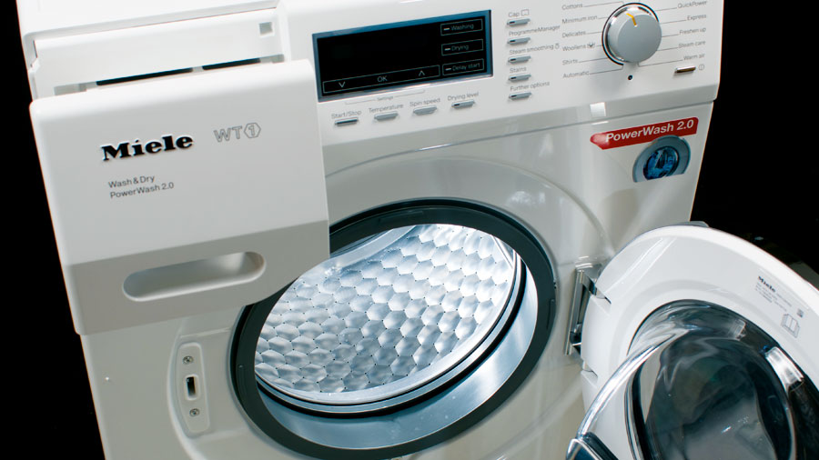 Miele washing machine with door open